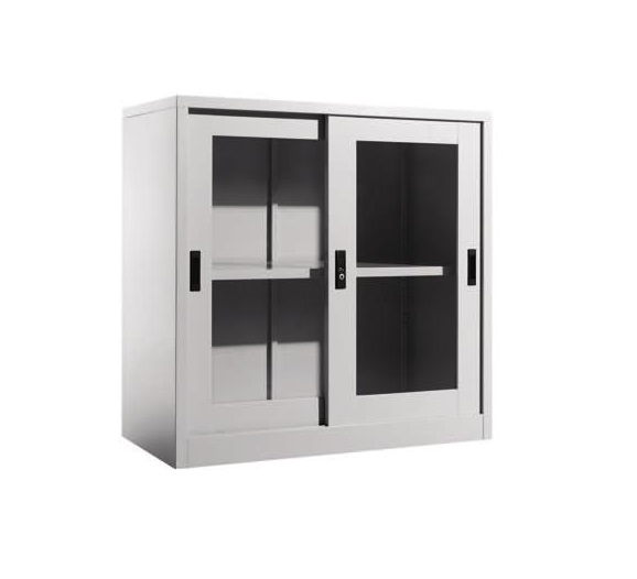 Steel Half Height Cupboard With Sliding Glass Doors Ofs110m Office