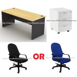 4ft Maple office table with mobile pedestal and chair OFMTFS001 klang valley shah alam selangor puchong kuala lumpur