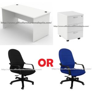 5ft White Office Table with Mobile Pedestal and Chair design for sale Set ampang damansara sunway petaling jaya shah alam