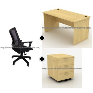 5ft Office Desk Full Maple with Drawer and Chair Set OFTF1270 500 shah alam petaling jaya kuala lumpur