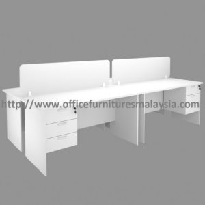 6ft Full White 4 seats office workstation divider with drawers Taman desa sri hartamas Sentul