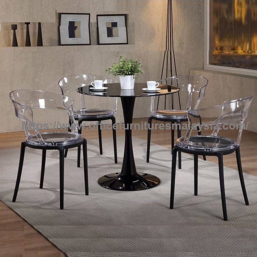 Modern Clear Acrylic Dining Chair And Glass Table Set